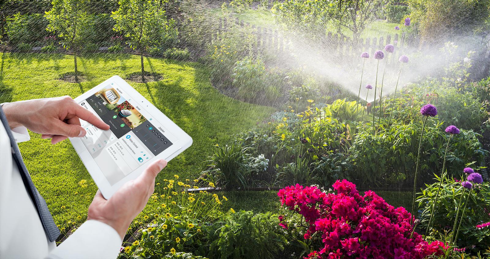 Bewässerung im Blumengarten